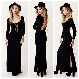 BLUE LIFE Open Back Criss-Cross Black Maxi Dress